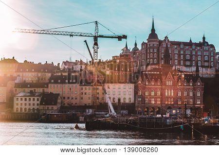 Hazy Shot Of Colorful Nordic Houses Of Stockholm, Sweden