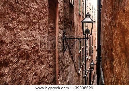 Narrow Streets Of Old Town (gamla Stan) In Stockholm, Sweden