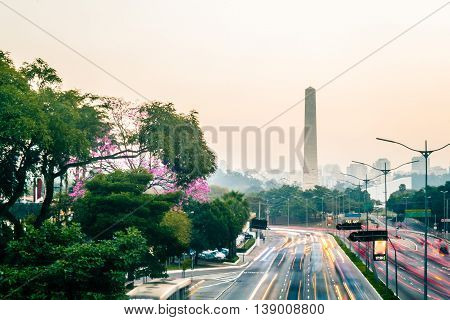 Rainy And Foggy Day At Avenue 23Th Of May (avenida 23 De Maio) In Sao Paulo, Brazil