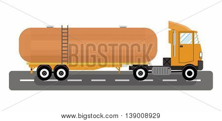 heavy oil fuel chemical tank truck. vector illustration in flat style on white background