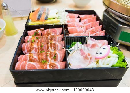 Pink Kamaboko Sliced, Japanese Fish Cake, Pork Belly Sliced And Kurobuta Pork Slices With Bacon And