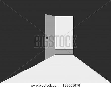 Open door with light. Light from the open door. Open door to a dark room.