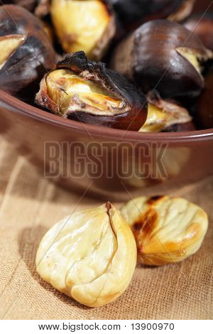 Roasted sweet Chestnuts And Wine