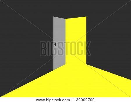 Light from the open door. Vector illustration.