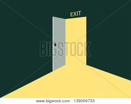 Light from the open door. Vector illustration in retro style.