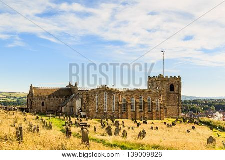 WHITBY ENGLAND - JULY 16: The Church Of St Mary (located next to the abbey). In Whitby North Yorkshire England. On 16th July 2016.