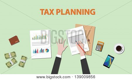 tax planning with businessman hand on paper document with graph chart money and calculator vector graphic illustration