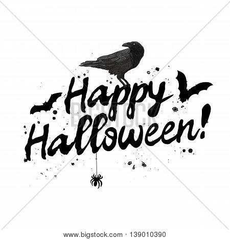 Quote Happy Halloween. The trend calligraphy. Vector illustration on white background. Excellent gift card. Elements for design.