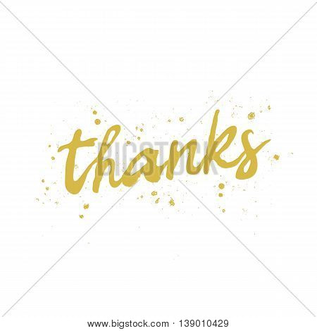 Quote Thanks. The trend calligraphy. Vector illustration on white background. Excellent gift card. Elements for design.