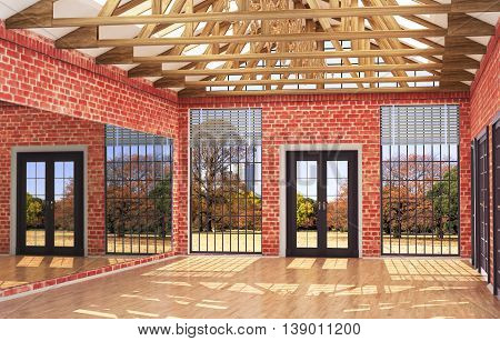 Loft interior Great Hall with mirror large windows and doors wooden frame on the ceiling. 3d illustrations