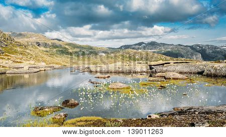 Landscape Of Norwegian Mountains Lake. Nature Of Norway. Travel And Hiking. Amazing Scenic View At  Summer Day. Nobody. Scandinavia.
