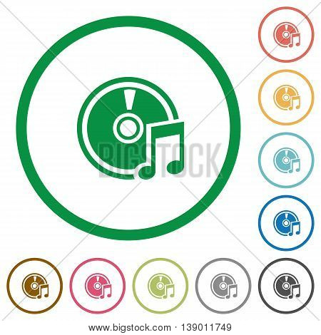 Set of Audio CD color round outlined flat icons on white background