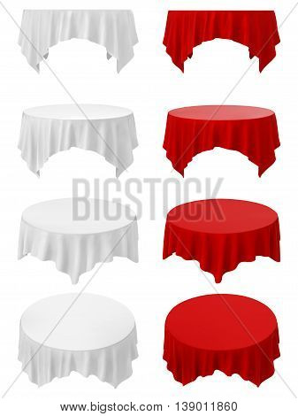 Dining tables set with tablecloth. Illustration on white