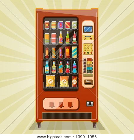 Vending machine with snacks and drinks, vector illustration