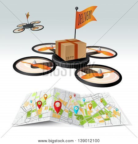 Drone, delivery quad copter with box flying in the sky. Concept easy editable for Your design.