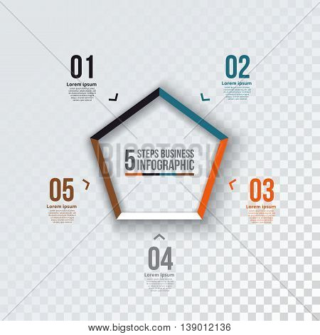 Vector pentagon infographic. Template for cycle diagram, graph, presentation and chart. Business concept with 5 options, parts, steps or processes.  Transparent background.