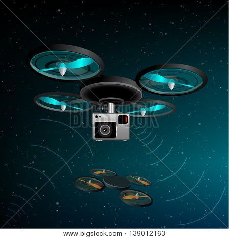 Drone quad copter with photo camera flying in the night sky. Concept easy editable for Your design.
