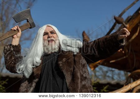 Brutal Old Druid With Axe