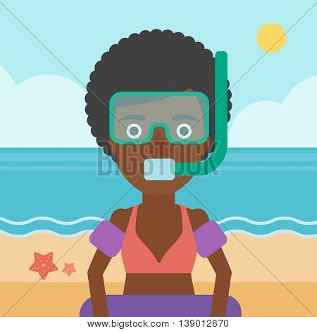 An african-american woman in mask, tube and rubber ring standing on the background of beach and sea. Woman wearing snorkeling equipment on the beach. Vector flat design illustration. Square layout.