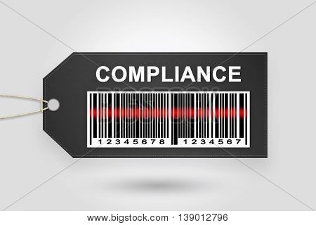 Compliance price tag with barcode and grey radial gradient background
