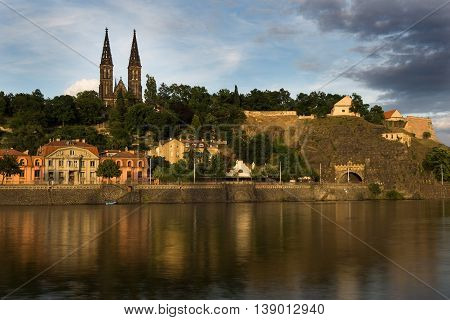 Vysehrad is a historic fort on the cliff above the right bank of the Vltava river in the district of Vysehrad in Prague