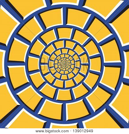Optical illusion background. Yellow quadrangles are moving circularly toward the center on blue background. Checkered background in form of concentric web.