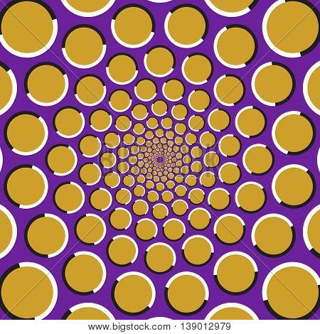Optical illusion background. Golden circles are moving circularly from the center on purple background. Polka dot background.
