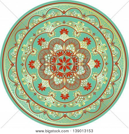 Drawing of a floral mandala in turquoise, red, white and gold colors on a white background