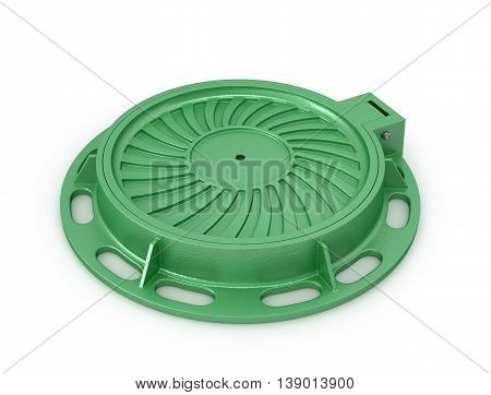 Manhole Cover. Sewer manhole on a white background. 3d illustration