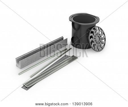 Sewer system drainage on a white background. 3D illustration.