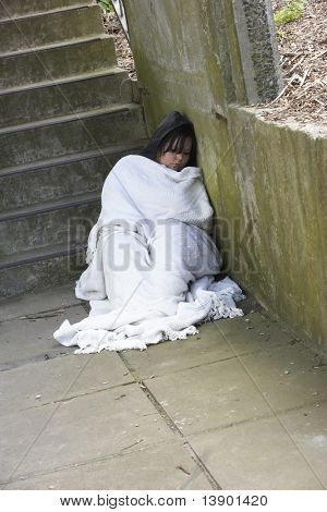 Homeless Girl Sleeping Rough