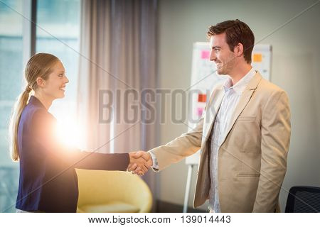 Businessman shaking hands with businesswoman in the office
