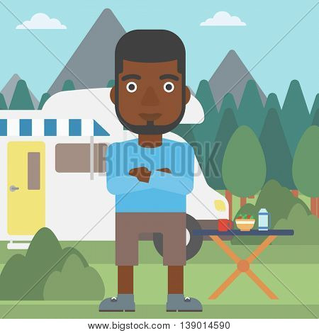 An african-american man standing in front of motor home. Young man with arms crossed enjoying vacation in camper van. Vector flat design illustration. Square layout.