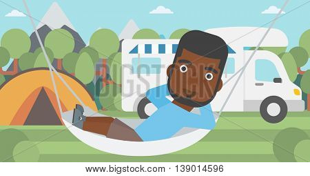 An african-american man lying in a hammock in front of motor home. Man resting in hammock and enjoying vacation in camper van. Vector flat design illustration. Horizontal layout.