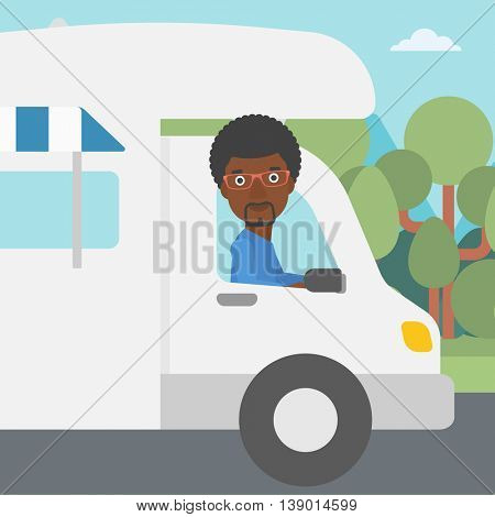 An african-american man driving a motor home in the forest. Man travelling by camper van. Vector flat design illustration. Square layout.
