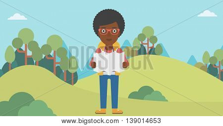 Traveler with backpack looking at map. An african-american woman travelling in mountains. Traveler searching right direction on map. Vector flat design illustration. Horizontal layout.