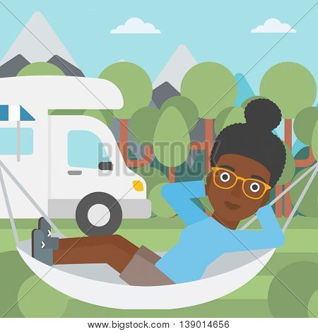 An african-american woman lying in hammock in front of motor home in the forest. Woman resting in hammock and enjoying vacation in camper van. Vector flat design illustration. Square layout.