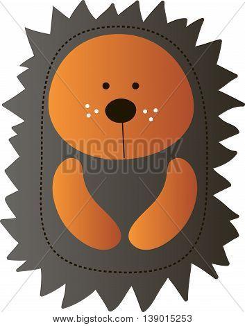 Drawing of a cute cartoon light brown hedgehog with dark brown prickles