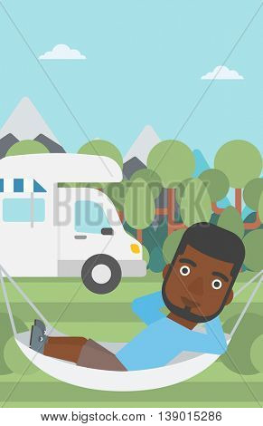 An african-american man lying in a hammock in front of motor home. Man resting in hammock and enjoying vacation in camper van. Vector flat design illustration. Vertical layout.
