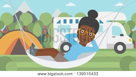 An african-american woman lying in hammock in front of motor home in the forest. Woman resting in hammock and enjoying vacation in camper van. Vector flat design illustration. Horizontal layout.