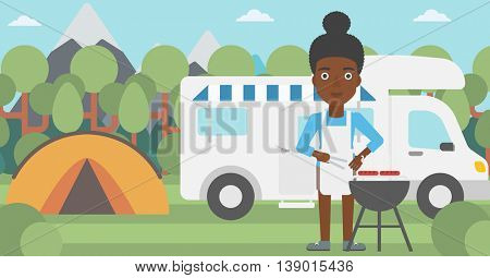 An african-american woman cooking meat on barbecue on the background of camper van. Woman travelling by camper van and having barbecue party. Vector flat design illustration. Horizontal layout.