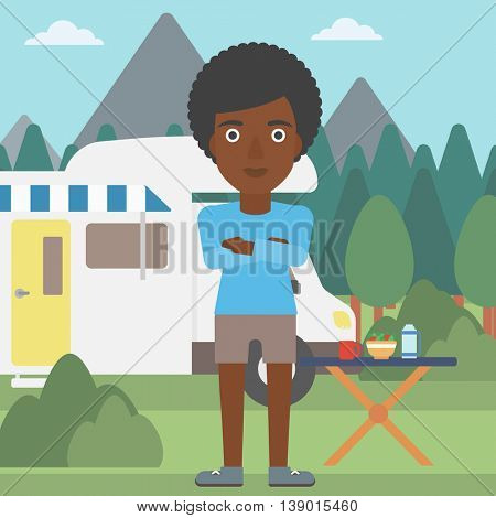 An african-american woman standing in front of motor home. Woman with arms crossed enjoying vacation in camper van. Woman travelling by camper van. Vector flat design illustration. Square layout.
