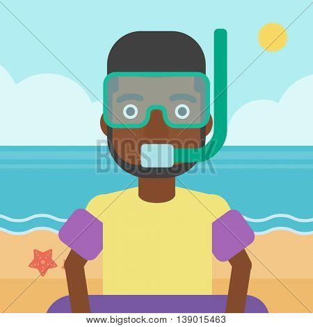 An african-american man in mask, tube and rubber ring standing on the background of beach and sea. Man wearing snorkeling equipment on the beach. Vector flat design illustration. Square layout.