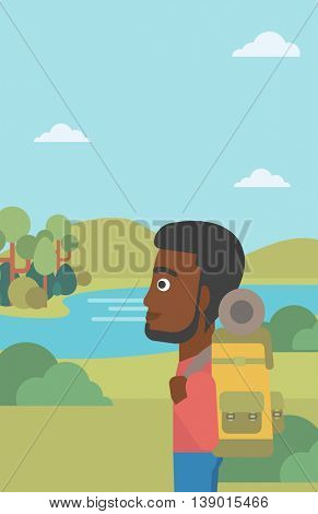 An african-american man with backpack enjoying the view of landscape with mountains and lake. Vector flat design illustration. Vertical layout.