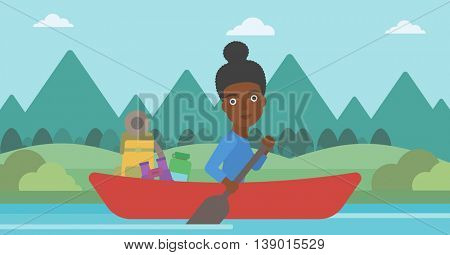 An african-american woman riding in a kayak on the river with a skull in hands and some tourist equipment behind her. Woman traveling by kayak. Vector flat design illustration. Horizontal layout.