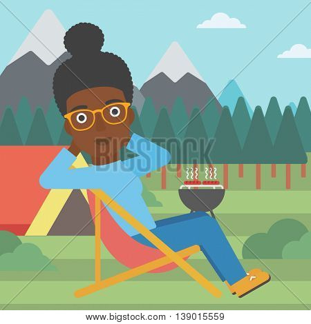 An african-american woman sitting in a folding chair in the camp. Travelling woman relaxing and enjoying her camping holiday near the tent. Vector flat design illustration. Square layout.