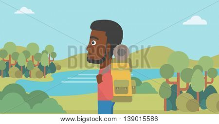 An african-american man with backpack enjoying the view of landscape with mountains and lake. Vector flat design illustration. Horizontal layout.