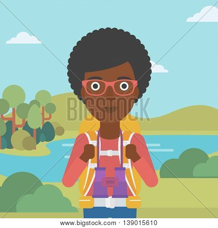 An african-american woman with backpack walking in the mountains. Female backpacker with binoculars. Female traveler hiking in mountains. Vector flat design illustration. Square layout.
