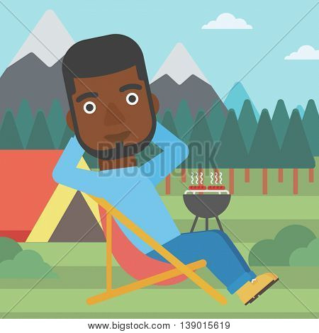 An african-american man sitting in a folding chair in the camp. Man relaxing and enjoying his camping holiday near the tent. Vector flat design illustration. Square layout.