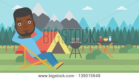An african-american man sitting in a folding chair in the camp. Man relaxing and enjoying his camping holiday near the tent. Vector flat design illustration. Horizontal layout.